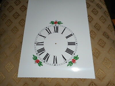 "Steeple Paper Clock Dial - 5"" M/T - Roman - White-Floral - Face /Clock Parts 2"