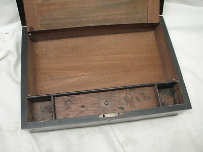 Antique Wooden Lap/Field Desk Writing Case Wood Box Tool Tole Painted 3