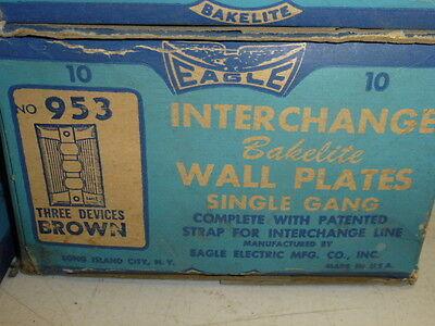 Nos! Eagle Interchange 1-Gang Brown Ribbed Bakelite Wall Plate, Horizontal, 953