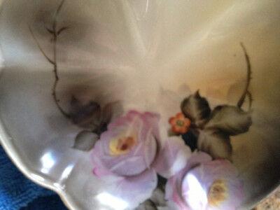 Antique Noritake Floral Motif Handpainted Footed Bowl - 1920 Japan 24k details 3