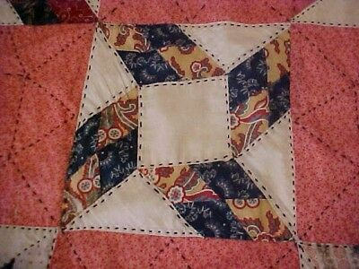 Vintage 1920/30s  QUILT, LOTSA PATTERNED RED &  BLACK EMBROIDERY 7