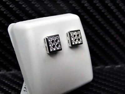 865a09759 ... Unisex Diamond Studs Earring 14K White Gold Round Cut Square Shape  Screw Backs 2