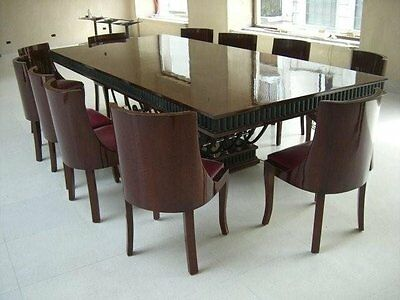 2 Of 6 French Art Deco Dining Set With Wrought Iron Base, Circa 1920 #7028