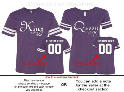 6260444a19 ... Couple Shirts Matching King Queen Football Jerseys Customized Back His  & Hers 9