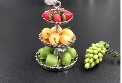 Dollhouse Miniature Metal Dessert Food Fruit Cake Bakery Rack Display Stand Tray 2