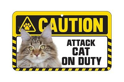 Cat Sign Caution Beware - Attack Cat On Duty - 7 Designs 5