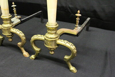 "Pair of Neoclassical Gilt Metal and Onyx Andirons, circa 1900, 26"" X 20"" 2"