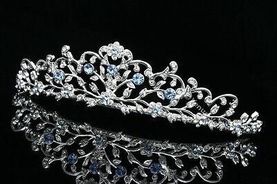Blue Bridal Wedding Rhinestone Crystal Floral Tiara Crown V797