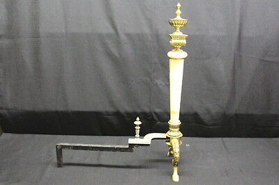 "Pair of Neoclassical Gilt Metal and Onyx Andirons, circa 1900, 26"" X 20"" 5"