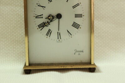Antique 8 day Carriage Clock Jaccard with Porcelain Dial Working 6