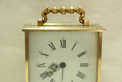 Antique 8 day Carriage Clock Jaccard with Porcelain Dial Working 5