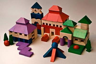 Holz Bausteine 50 Stück Bauklötze Buchenholz Holzbausteine Steine Bau Klotz bunt Puzzles & Geduldspiele