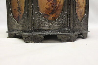 18th Century Style Pewter Tea Canister w/Asian Scenes Behind 18 Glass Panels 5