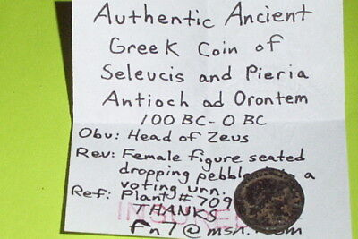 100 BC GREEK COIN of SELEUCIS PIERIA womens voting rights ANTIOCH ORONTEM zeus