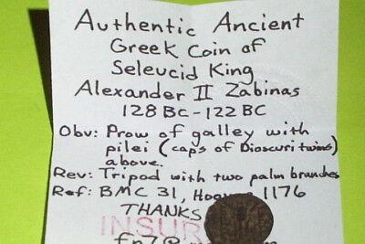 ALEXANDER II ZABINAS 128 BC Ancient GREEK COIN tripod boat seleucid old antique