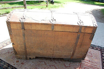 1776 ANTIQUE REV REVOLUTIONARY WAR COLONIAL DOME-TOP TRUNK Chest aafa Patriotic