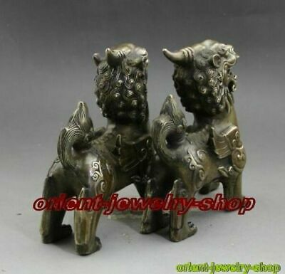 old fengshui Antique Bronze Hand carving pixiu Unicorn statue a pair 2