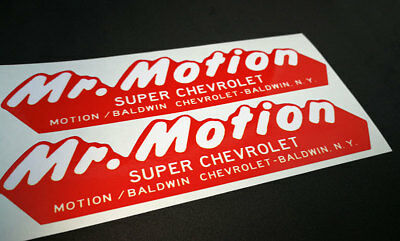 PAIR OF MR  MOTION, BALDWIN CHEVROLET NY Vintage Style DECALS, Vinyl  STICKERS