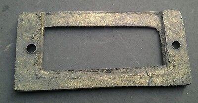 """6 antique vintage brass file cardholder label holder 2 3/16"""" x 1"""" #F3 6"""