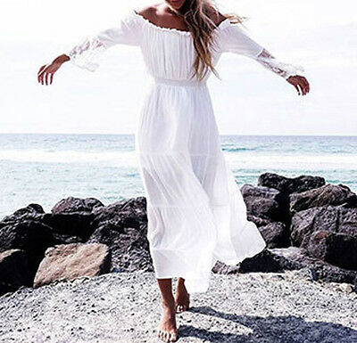 5 von 11 Sommer Weißes Sommerkleid Weiß spitze HIPPIE Maxikleid kleid  Kleider Größe S-XL 12e8991ebc