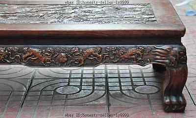 old chinese huanghuali wood carved dragon beast foo dog lion desk Tea table A 3