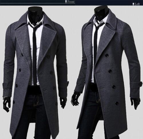 Mens Stylish Trench Coat Winter Warm Jacket Double Breasted Overcoat Windbreaker 5