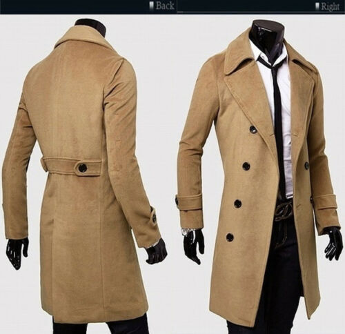 Mens Stylish Trench Coat Winter Warm Jacket Double Breasted Overcoat Windbreaker 3