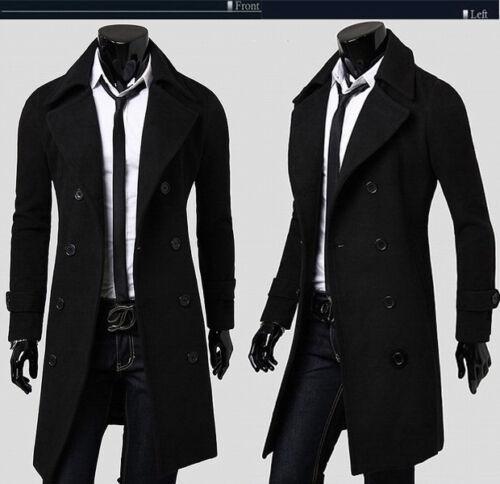 Mens Stylish Trench Coat Winter Warm Jacket Double Breasted Overcoat Windbreaker 4