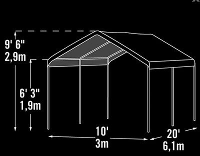10x20x9 6 Costco Shelterlogic Replacement Canopy Top Cover For 1 3 8 10611 95 99 Picclick