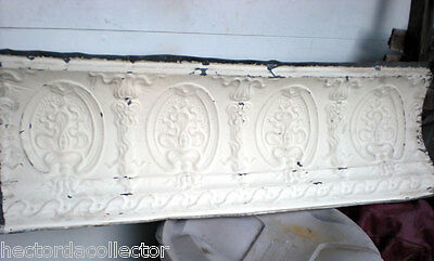 SALE Antique Victorian Ceiling Tin Tile 24 x 18 Acanthus Cameo Torch Shabby Chic 6