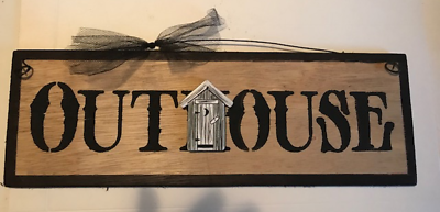 Wood sign OUTHOUSE Wood Bathroom Home Decor Country Rustic Prim Wood Sign