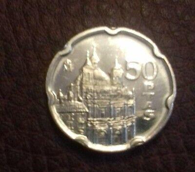 Moneda De 50 Pesetas Juan Carlos I 1995 Sc. Sacada De Bolsa. 2