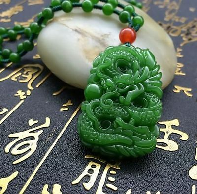 China's natural hand carved jade dragon pendant agate necklace 3
