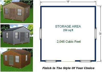 16x16 Storage Shed Plans Package Blueprints Material List