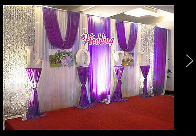 4 Of 12 Stage Wedding Party Backdrop Curtain Background Decor Sparkly Sequin Swag New