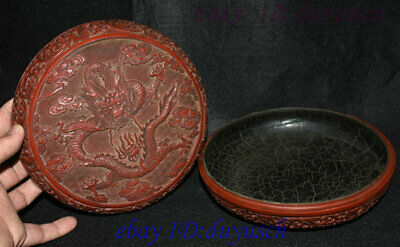 """8"""" Old Chinese Carved Lacquerware Craftwork Dragon pattern casket Jewelry Box 5"""