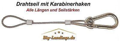 Drahtseil verzinkt mit Öse + 1x Karabiner alle Längen 2mm - 6mm Stahlseil