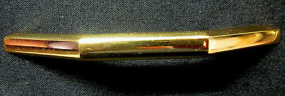 1 vintage 1960s retro polished shiny bright solid brass drawer pull handle 4-7/8 3