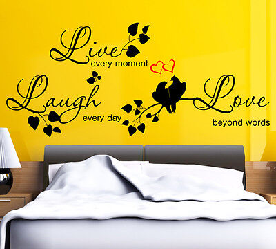 7 Of 8 WALL QUOTES LIVE LAUGH LOVE Wall Stickers Wall Art Decal Stickers D50