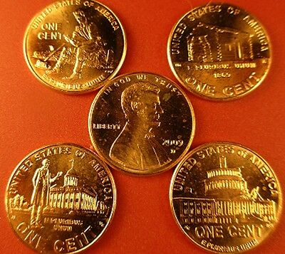 5 Complete Sets (40-Coins) P & D Mint Penny's Of The 2009 Lincoln Bicentennial 2