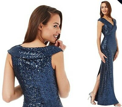 2d23e1332d ... Goddiva Sequin Maxi Dress with Pleated Neckline in Great Colours 6