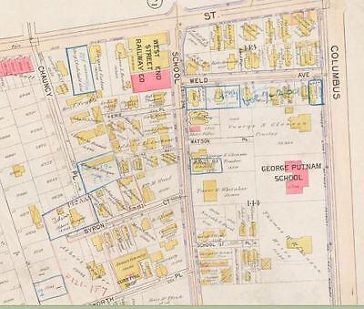 Jamaica Plain Boston Map.1896 W Roxbury Jamaica Plain Boston Ma George Putnam School