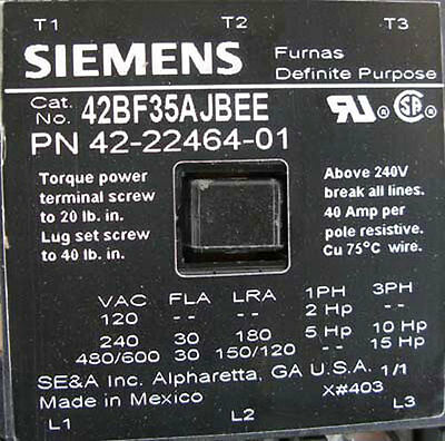 NEW Siemens 42BF35AJBEE Definite Purpose Controller 3P 24VAC 60Hz Coil 3