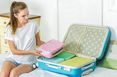 311a0884b4622 ... Reise Wäschebeutel 4er Set Wäschesack Koffertaschen Grün Gelb Blau Pink  11