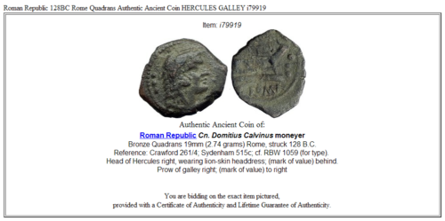 Roman Republic 128BC Rome Quadrans Authentic Ancient Coin HERCULES GALLEY i79919 3