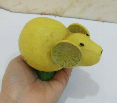 Vintage Wood Statue Figurine Mouse Wooden Yellow Hand Carved Lemon Art Paint 3