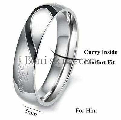 Couple Love Heart Stainless Steel Comfort Wedding Band Engagement Promise Ring 4