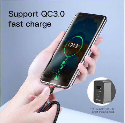 USB C Type-C to Type-C PD Fast Charger Cable Data Sync For Samsung Note 9 S9 S8 3