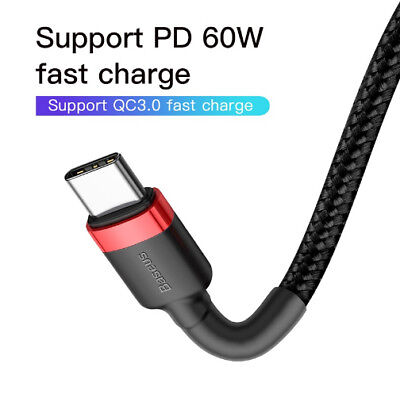 USB C Type-C to Type-C PD Fast Charger Cable Data Sync For Samsung Note 9 S9 S8 2