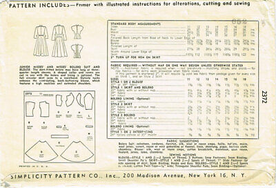 1940s Vintage Simplicity Sewing Pattern 2372 Misses Suit and Tucked Blouse 31B 9